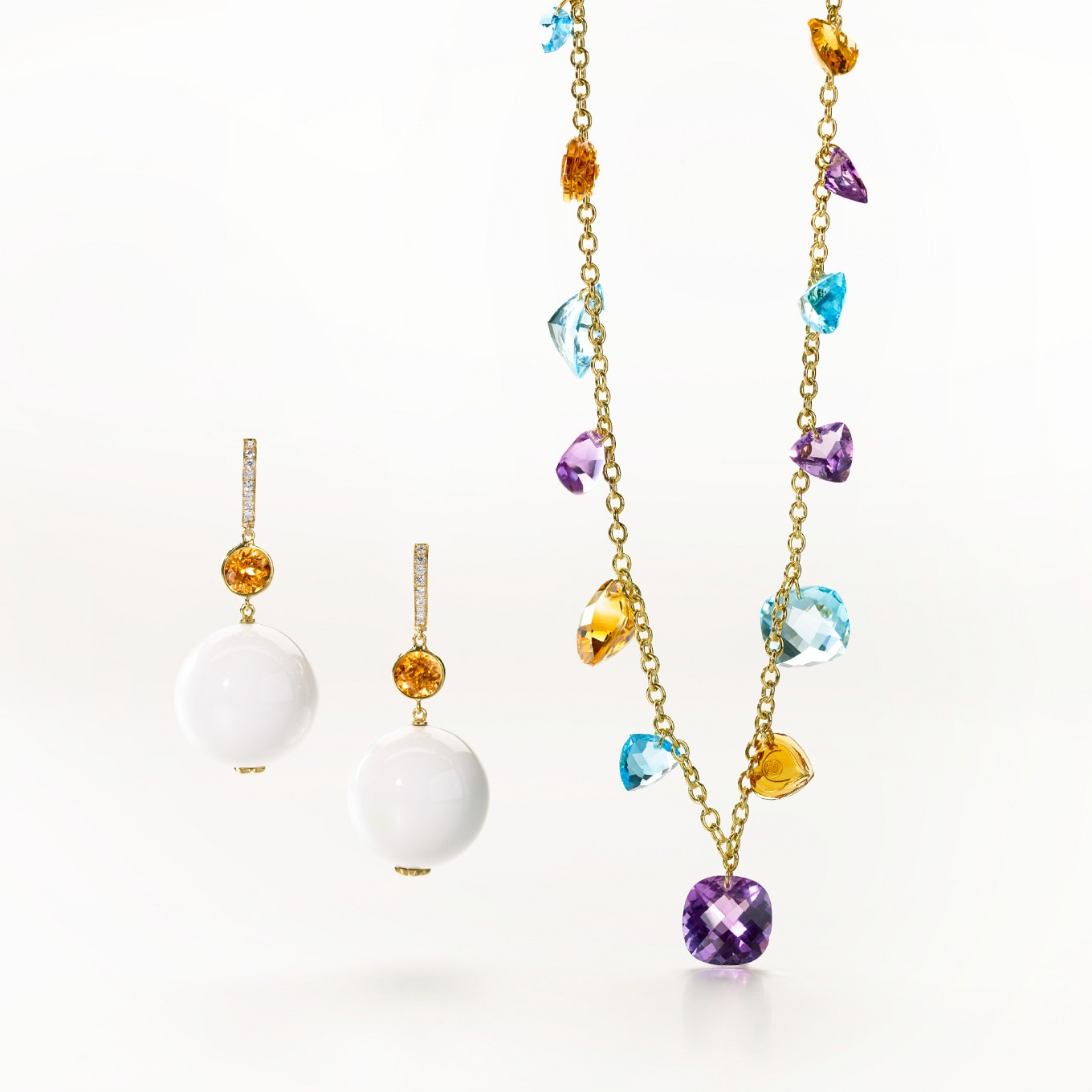WHITE AGATE & SPESSARTITE GARNET EARRINGS WITH DIAMONDS. AMETHYST, CITRINE, BLUE TOPAZ & HAND MADE CHAIN NECKLACE