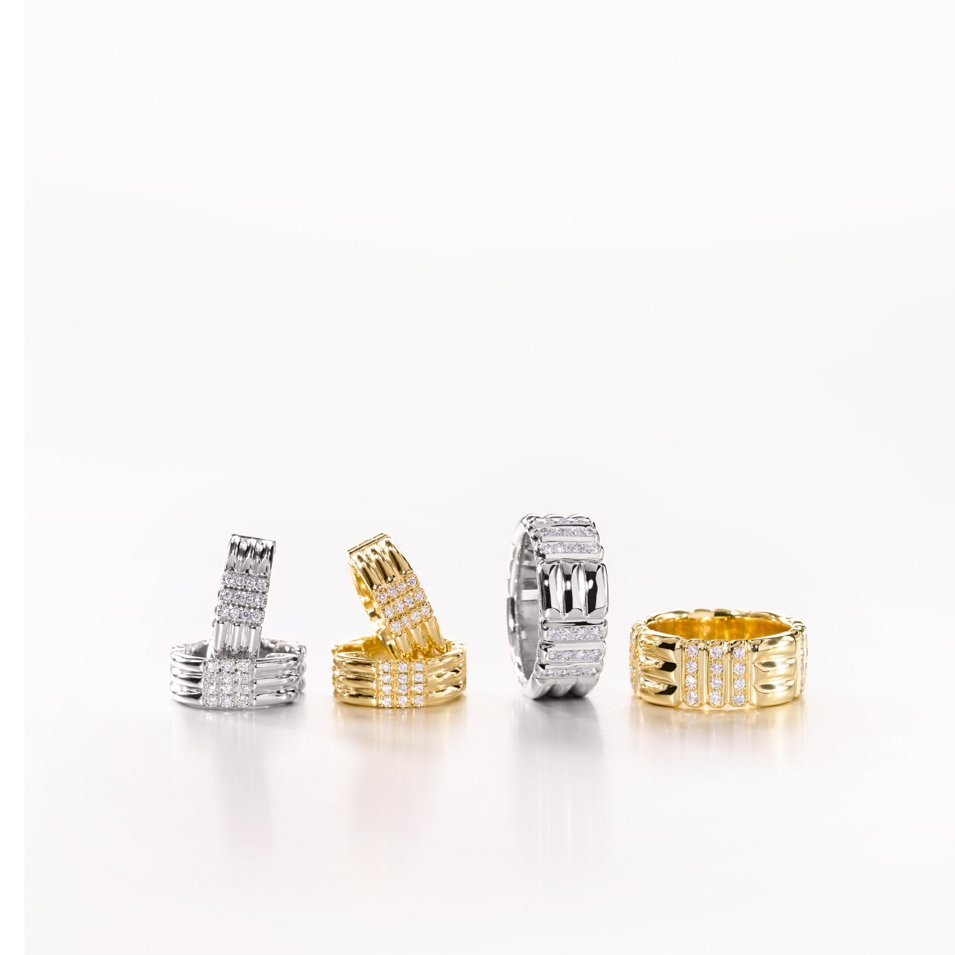 WEAVE EARRINGS AND RINGS WITH DIAMONDS IN YELLOW O...