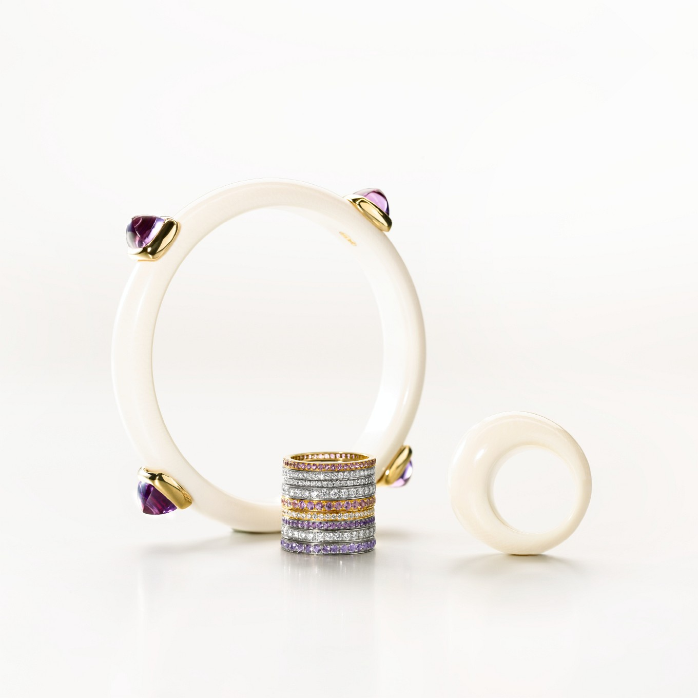 MAMMOTH TUSK & AMETHYST BANGLE IN YELLOW GOLD. DIAMOND & FANCY SAPPHIRE STACKING RINGS, MAMMOTH TUSK RING
