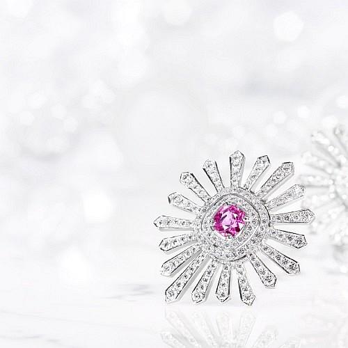 PINK SAPPHIRE & DIAMOND 'STAR-BURST' EARRINGS