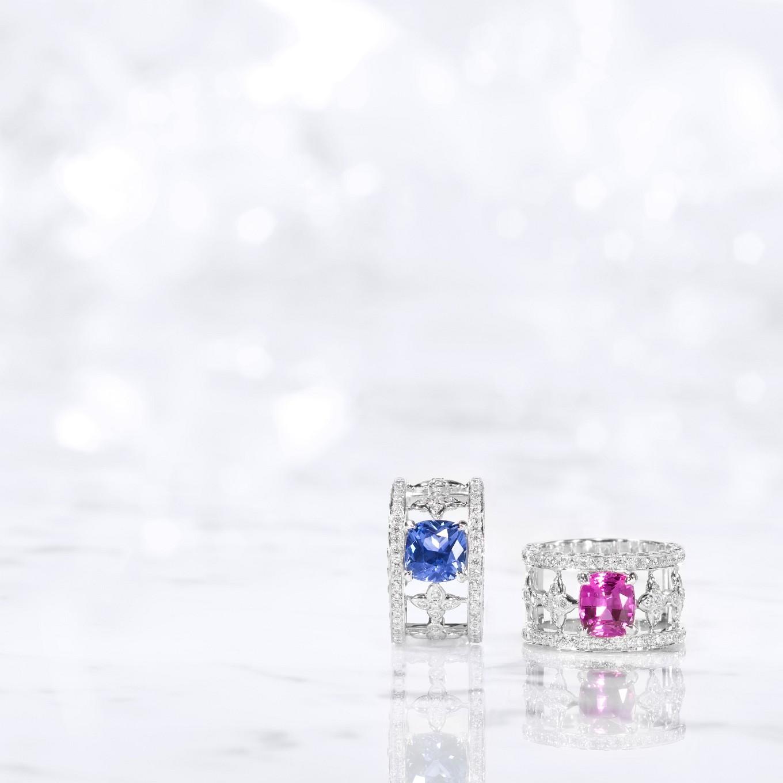 BLUE SAPPHIRE & DIAMOND SEVILLA RING. PINK SAPPHIRE & DIAMOND SEVILLA RING