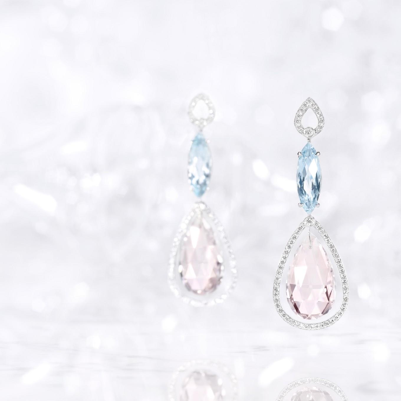 BLUE TOPAZ, MORGANITE BRIOLETTE & DIAMOND FRAME EARRINGS