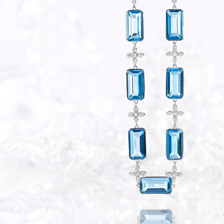BLUE TOPAZ & DIAMOND SEVILLA NECKLACE