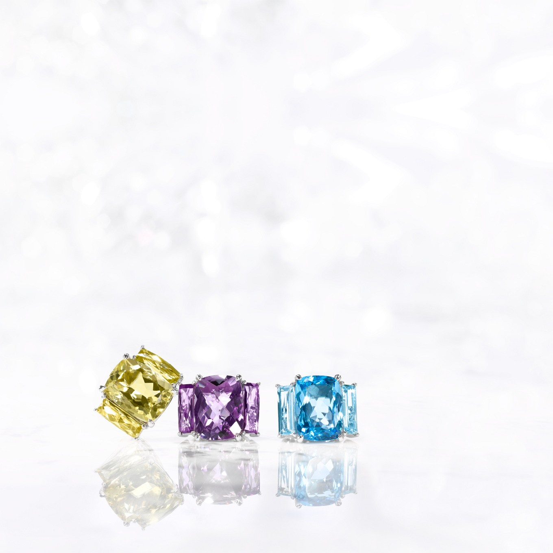 THREE STONE 'TRIO' RINGS FROM LEFT: LEMON CITRINE, AMETHYST, BLUE TOPAZ