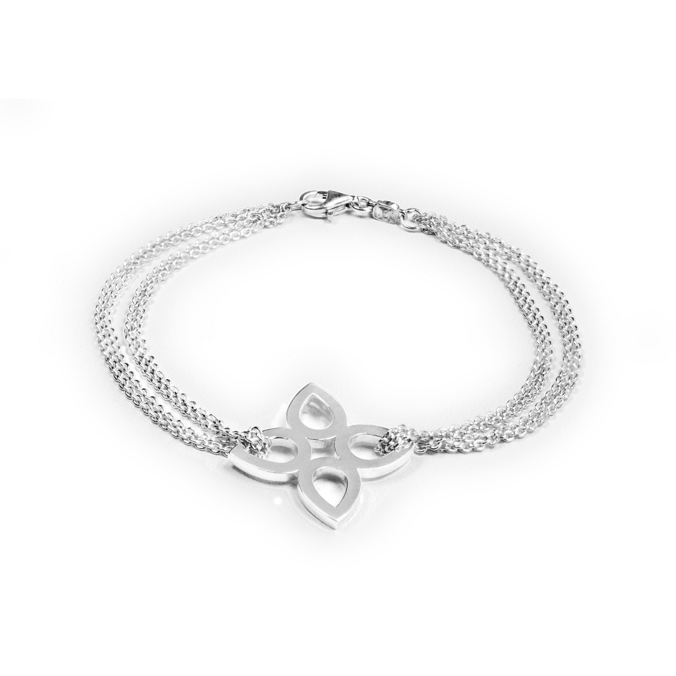 STERLING FLAT SEVILLA BRACELET WITH DOUBLE CHAIN