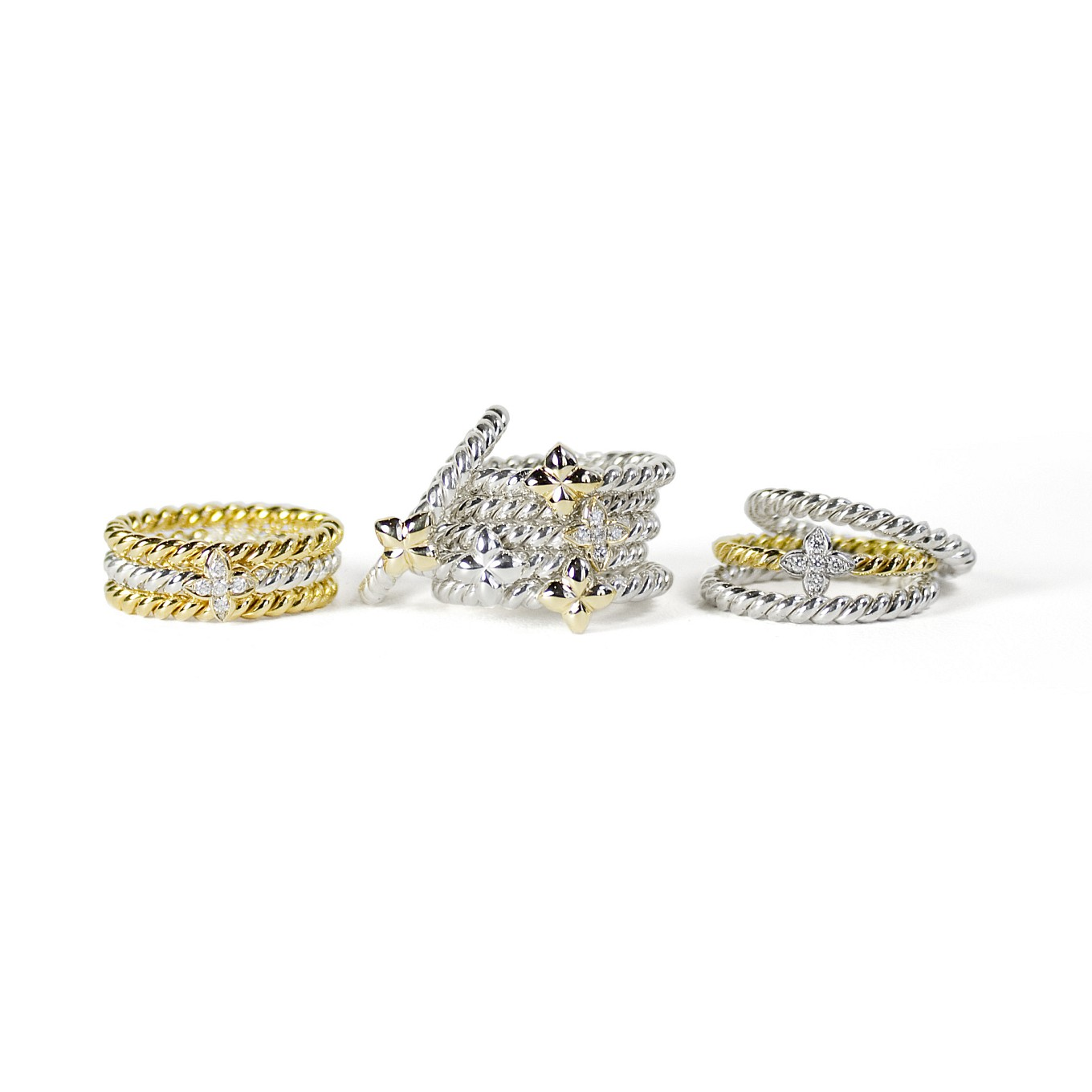 STERLING & GOLD BRAIDED BANDS & BRAIDED SEVILLA RINGS