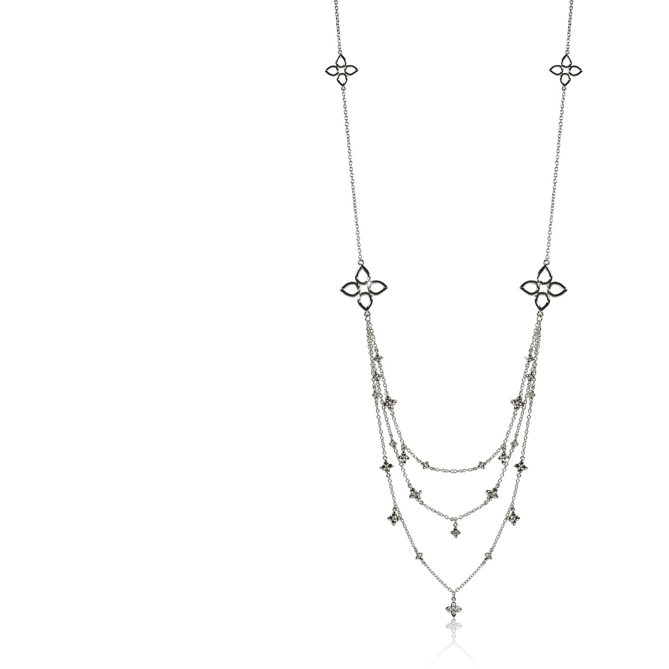 LAYERED THREE STRAND SEVILLA NECKLACE IN STERLING SILVER