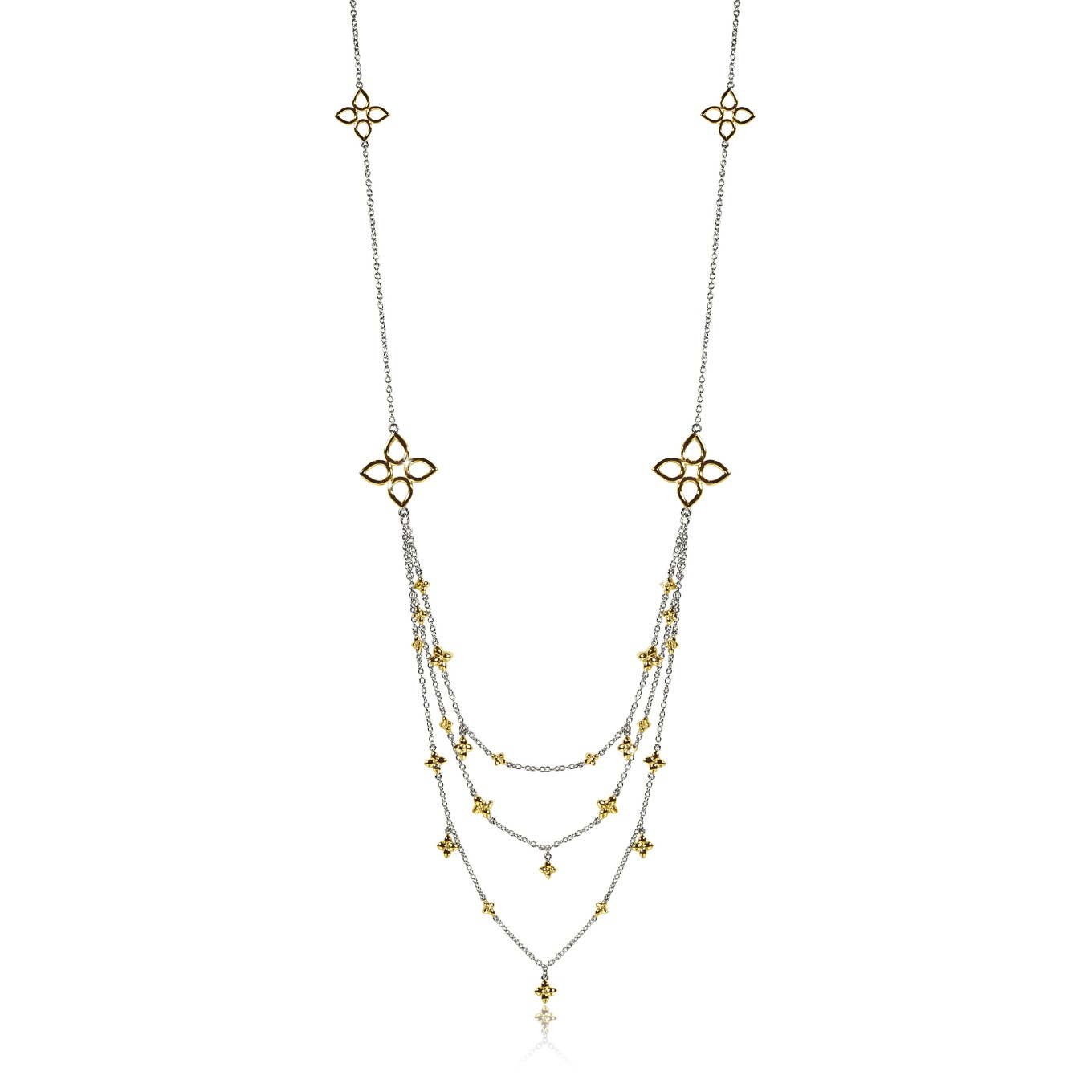 LAYERED THREE STRAND SEVILLA NECKLACE IN STERLING SILVER & GOLD