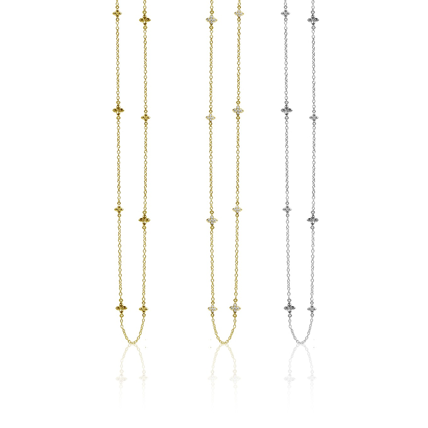 SEVILLA 16 INCH NECKLACES IN STERLING SILVER, GOLD, OR GOLD & DIAMONDS