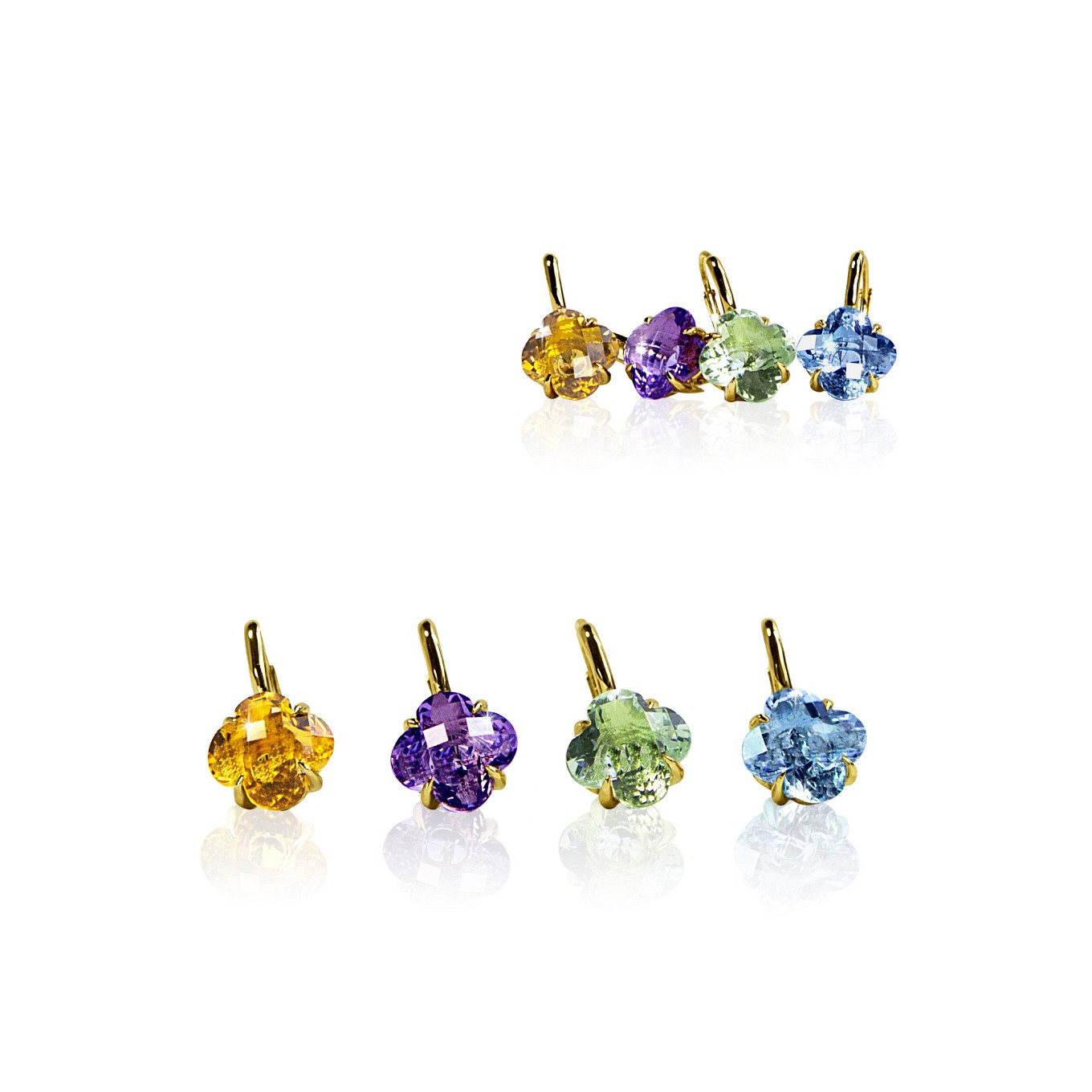 CITRINE, AMETHYST, GREEN AMETHYST, & BLUE TOPAZ CLOVER DROP EARRINGS IN YELLOW GOLD
