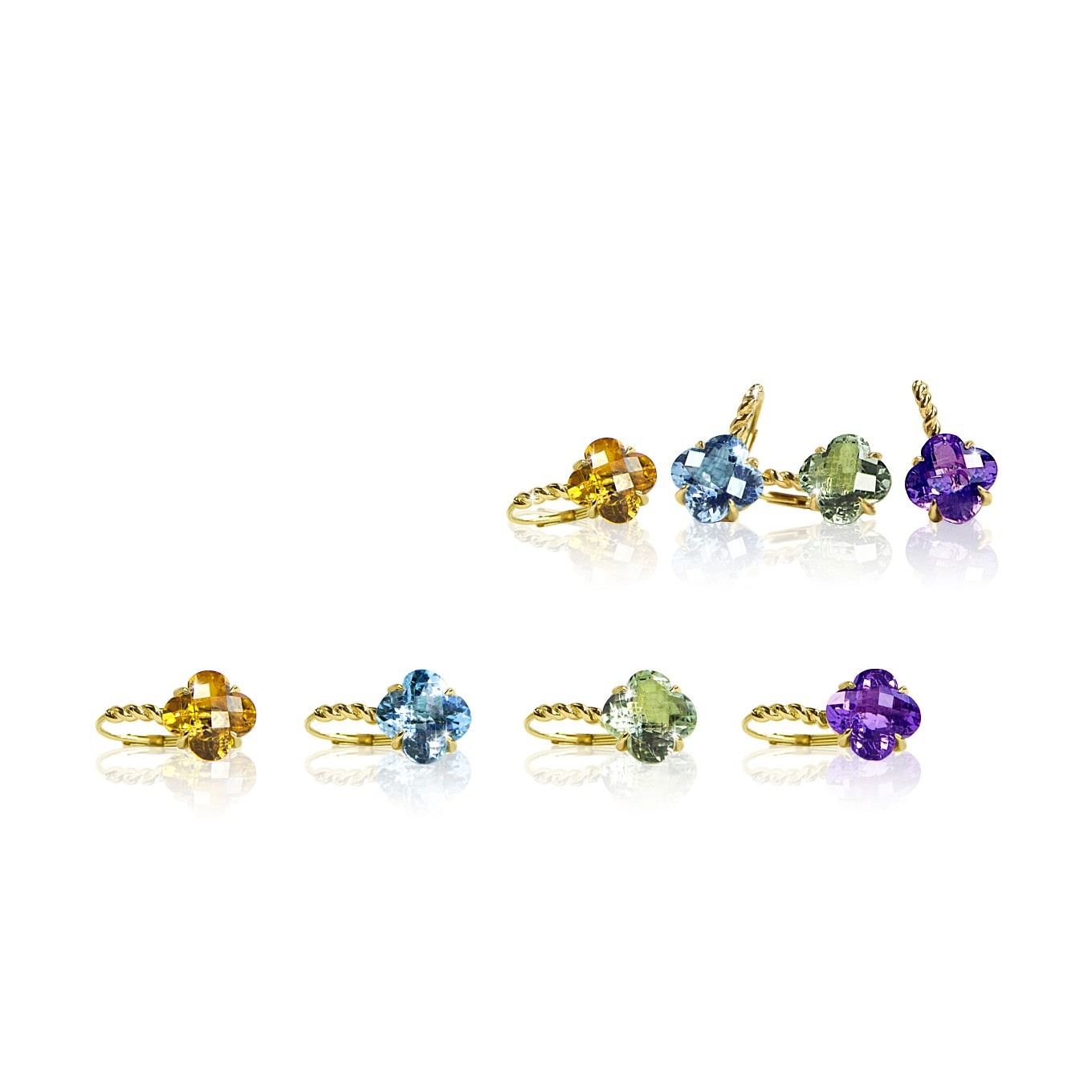 CITRINE, BLUE TOPAZ, GREEN AMETHYST, & AMETHYST CLOVER EARRINGS IN YELLOW GOLD
