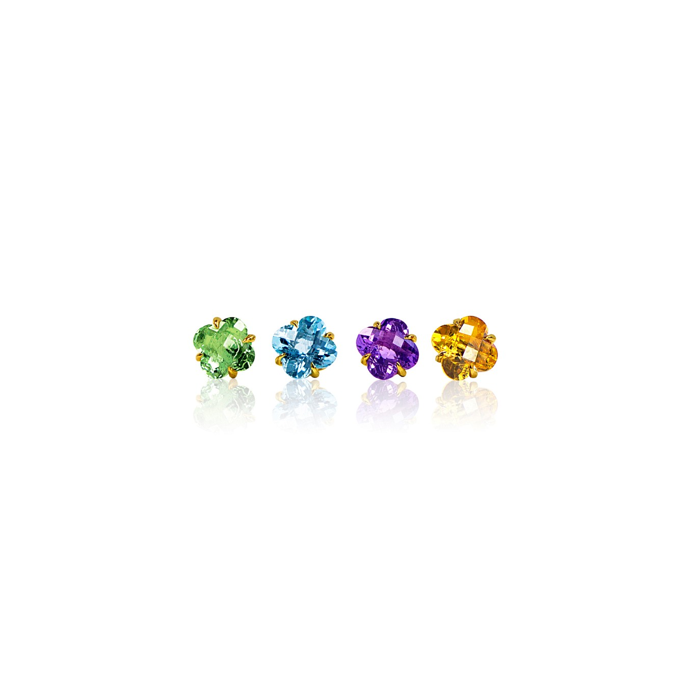 GREEN AMETHYST, BLUE TOPAZ, AMETHYST, & CITRINE CLOVER STUDS IN YELLOW GOLD
