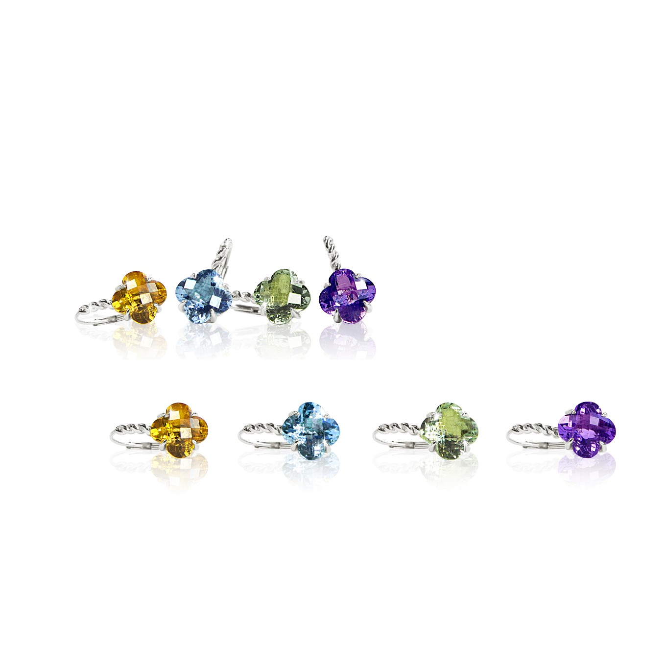 CITRINE, BLUE TOPAZ, GREEN AMETHYST, & AMETHYST CLOVER EARRINGS  IN STERLING SILVER