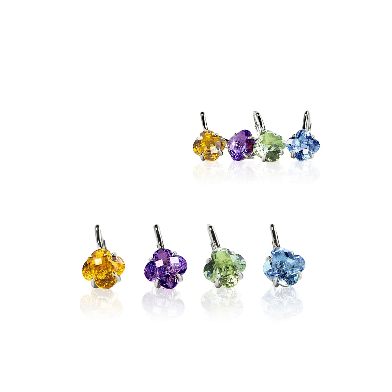 CITRINE, AMETHYST, GREEN, AMETHYST & BLUE TOPAZ CLOVER DROP EARRINGS IN STERLING SILVER