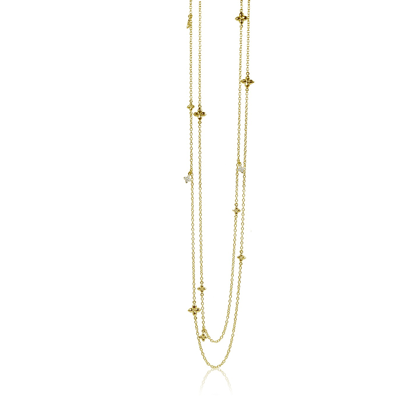 SEVILLA 32 INCH NECKLACE IN YELLOW GOLD & DIAMOND OR IN STERLING SILVER
