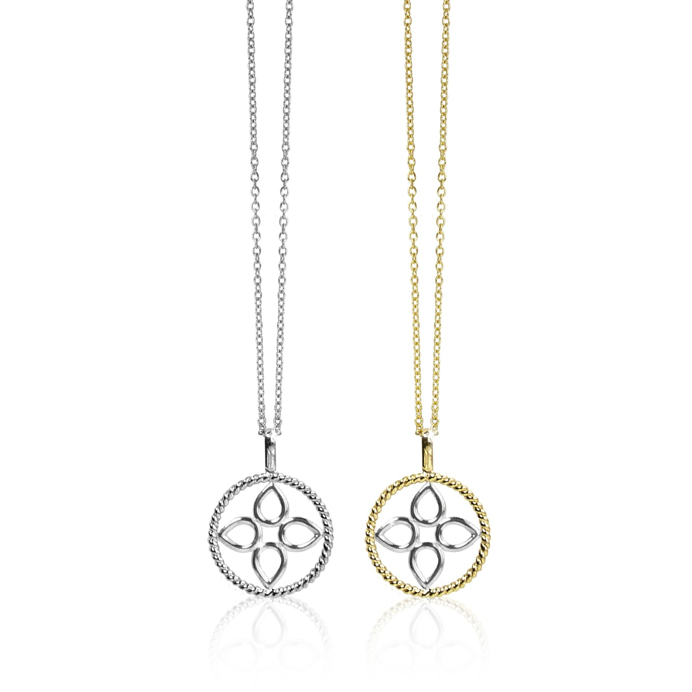 CIRCLE BRAID SEVILLA PENDANTS IN STERLING SILVER & STERLING & GOLD