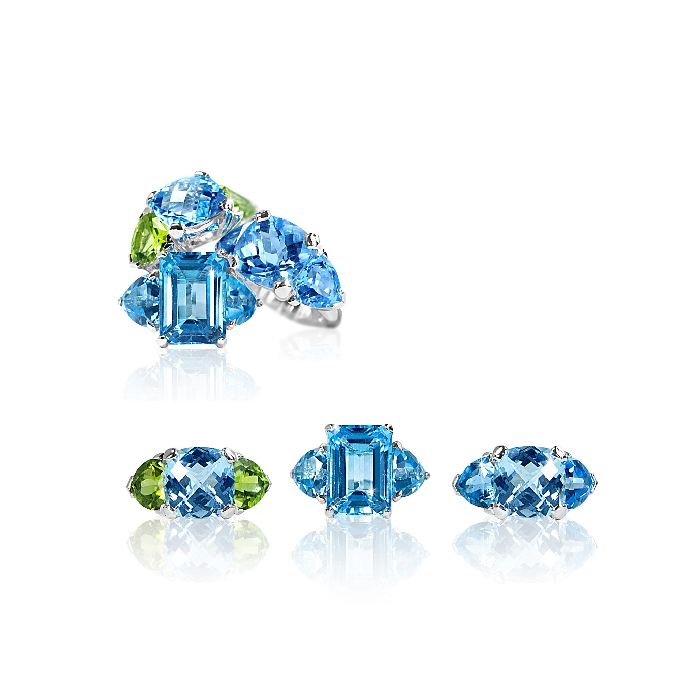 BLUE TOPAZ & PERIDOT THREE STONE STERLING RINGS
