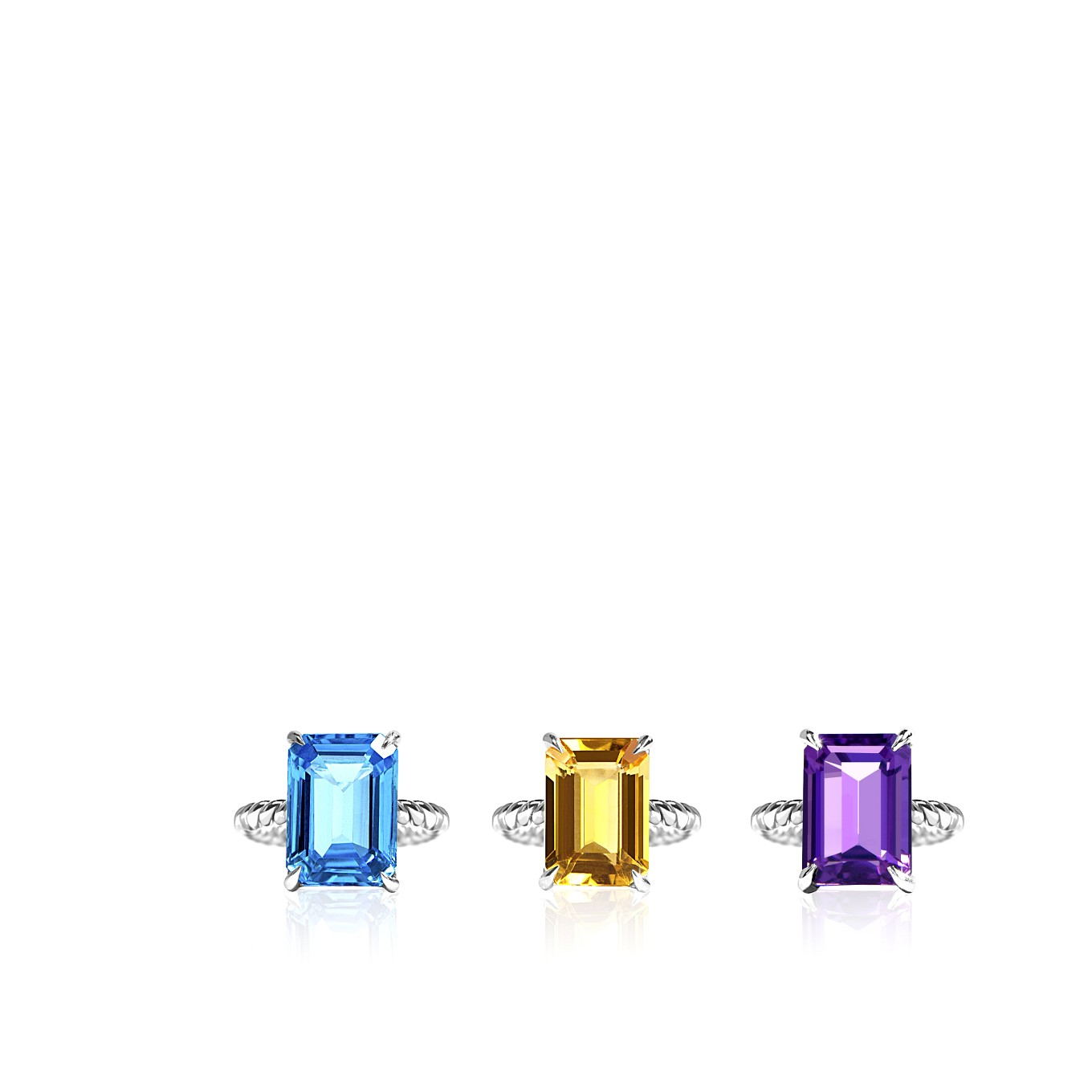 TOPAZ, CITRINE, & AMETHYST BLUE TOPAZ EMERALD CUT BRAID RINGS IN STERLING SILVER