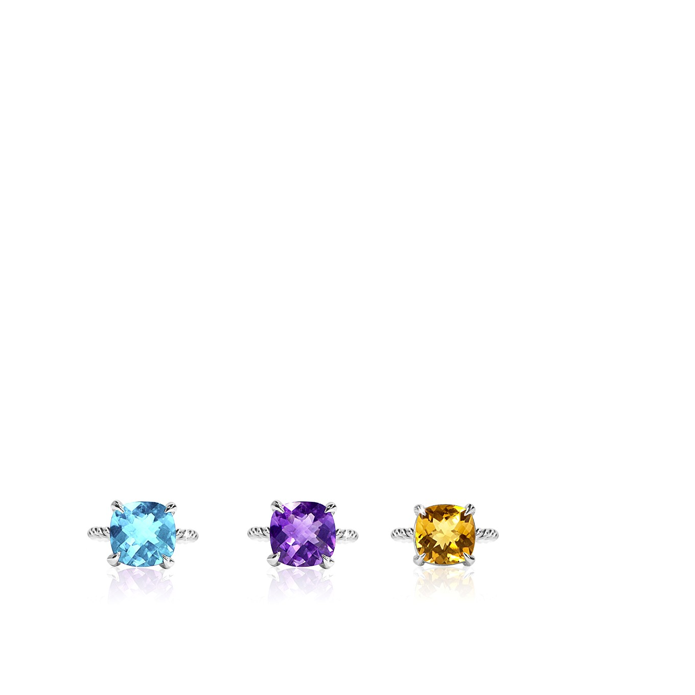 TOPAZ, CITRINE, & AMETHYST CUSHION CUT BRAID RINGS IN STERLING SILVER