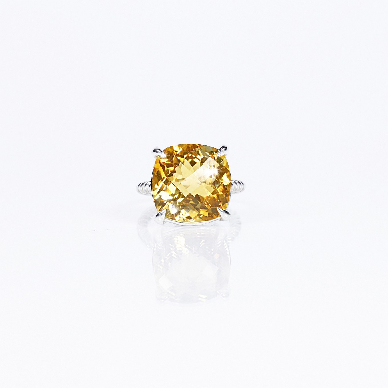 CITRINE CHEQUERBOARD BRAID RING IN STERLING SILVER