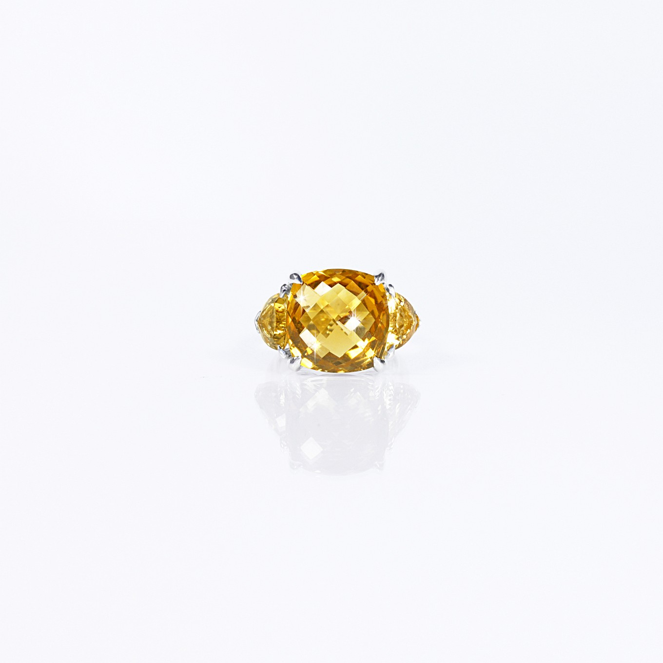 CITRINE THREE STONE RING IN STERLING SILVER