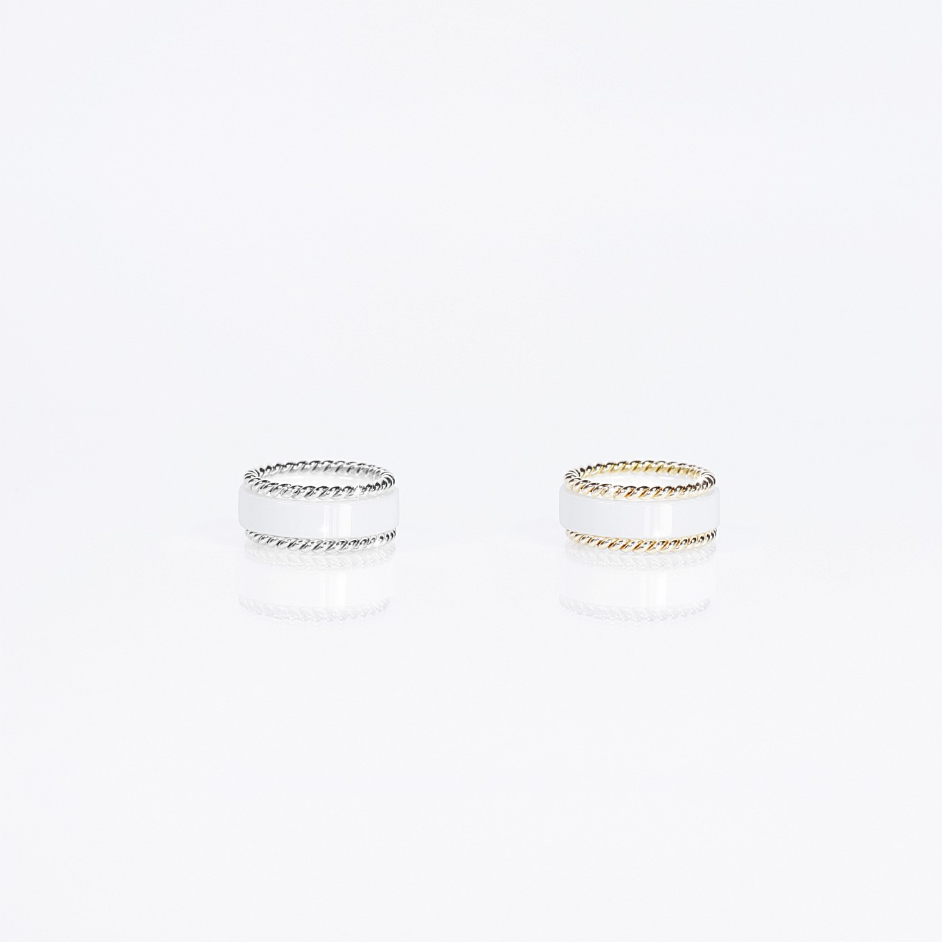 WHITE CERAMIC BANDS & GOLD BRAIDED BANDS