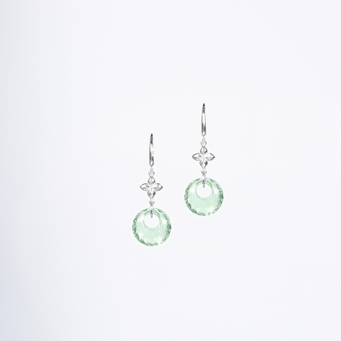 GREEN AMETHYST  SEVILLA DROP EARRINGS IN STERLING SILVER