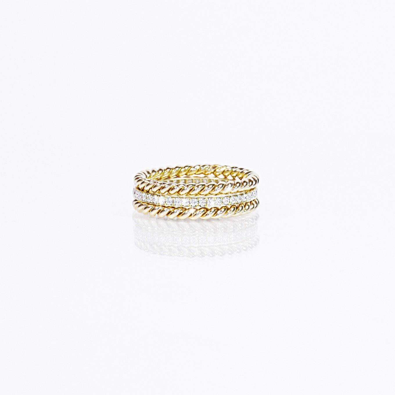 DIAMOND & BRAIDED STACKING RINGS