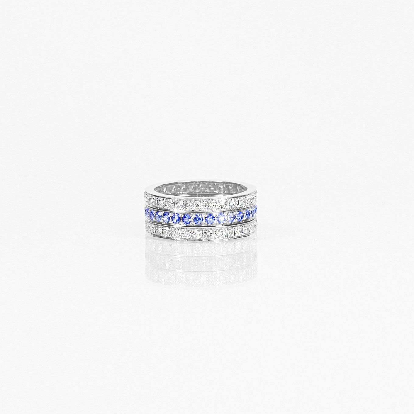 LARGE DIAMOND & BLUE SAPPHIRE STACKING RINGS IN 18K WHITE GOLD