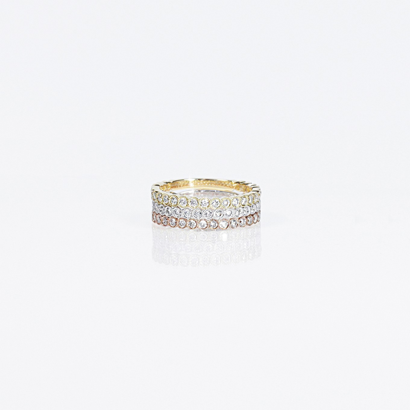 DIAMOND ETERNITY BANDS IN YELLOW WHITE & ROSE GOLD
