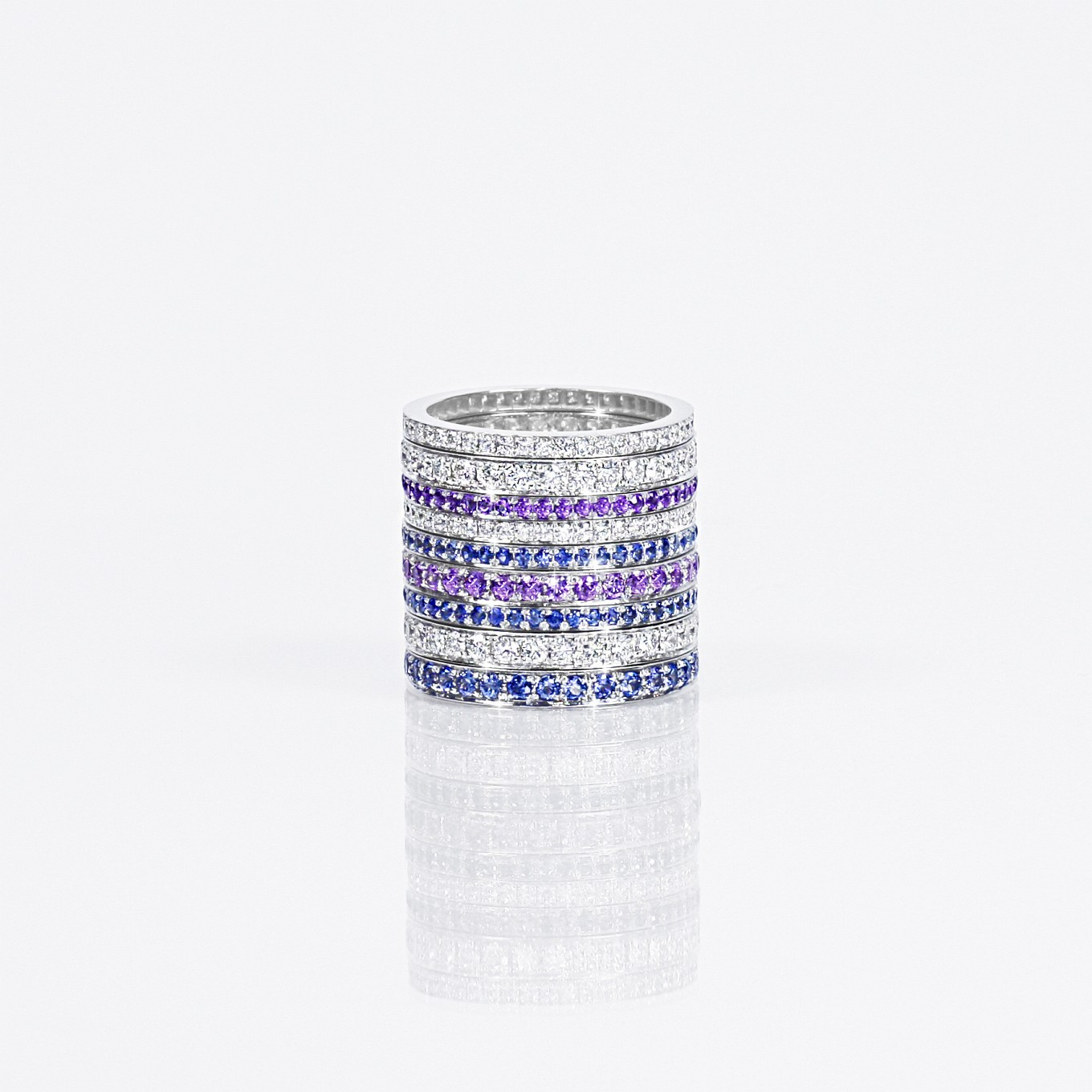 SAPPHIRE & DIAMOND ETERNITY BANDS IN WHITE GOLD