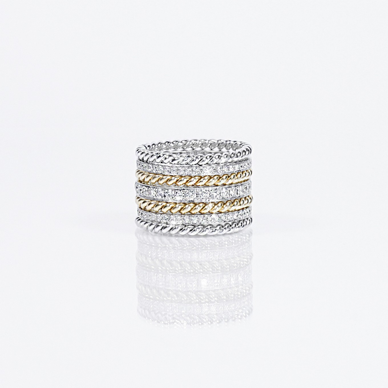 DIAMOND ETERNITY BANDS WITH GOLD BRAIDED BANDS
