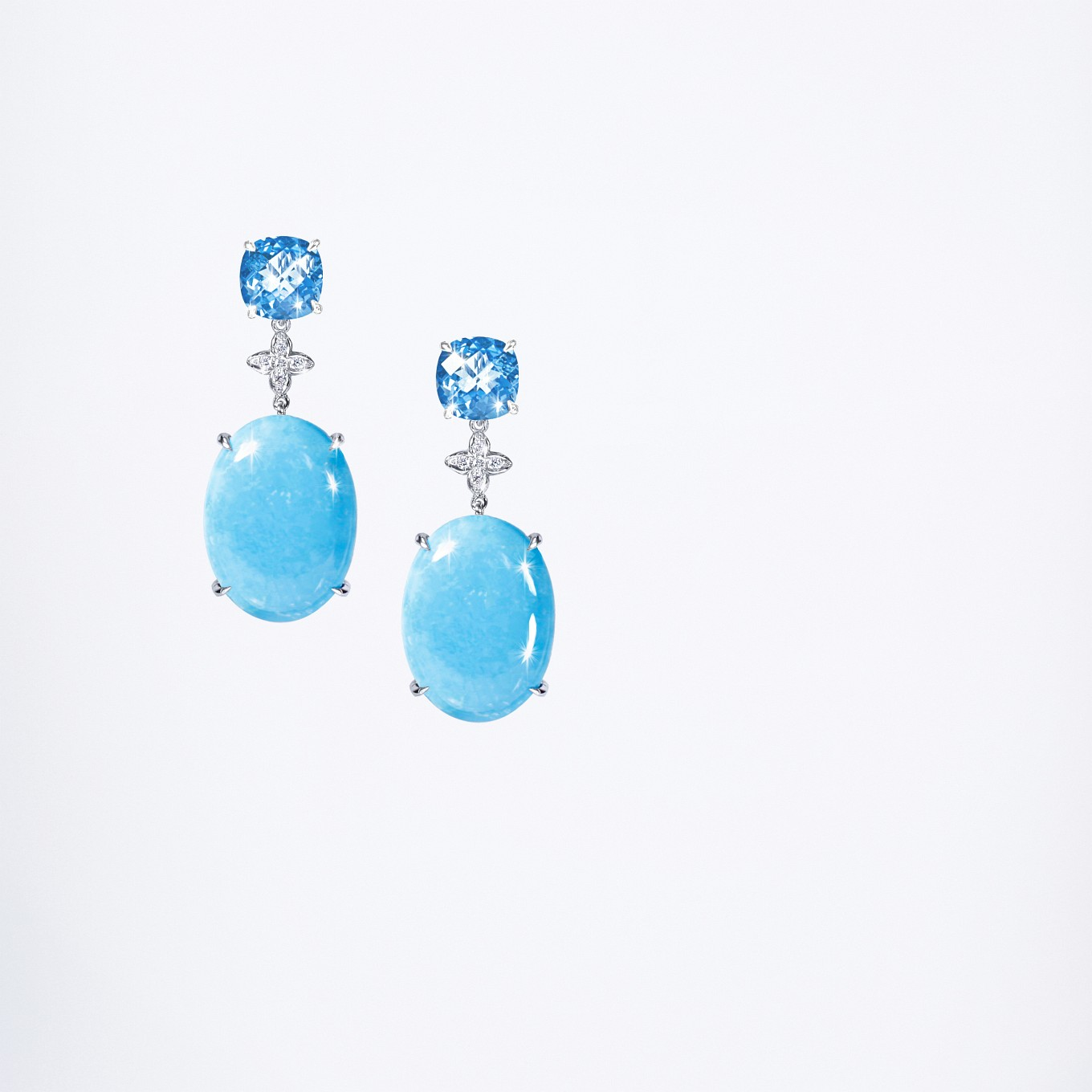 BLUE TOPAZ , TURQUOISE CABOCHON & DIAMOND EARRINGS IN WHITE