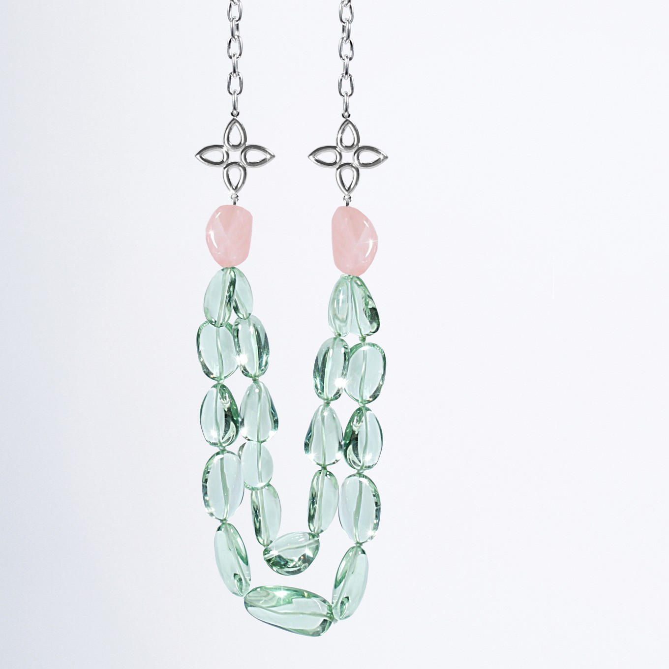 TUMBLED GREEN AMETHYST BEAD - ROSE QUARTZ & STERLING SILVER SEVILLA NECKLACE
