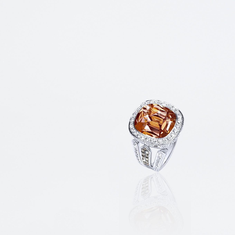 ANTIQUE CUSHION CUT COGNAC TOURMALINE, BROWN DIAMOND & DIAMOND RING IN WHITE GOLD