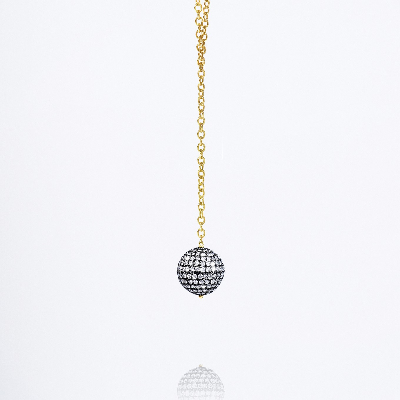 'DISCO BALL' PAVE DIAMOND & HANDMADE CHAIN DROP NECKLACE
