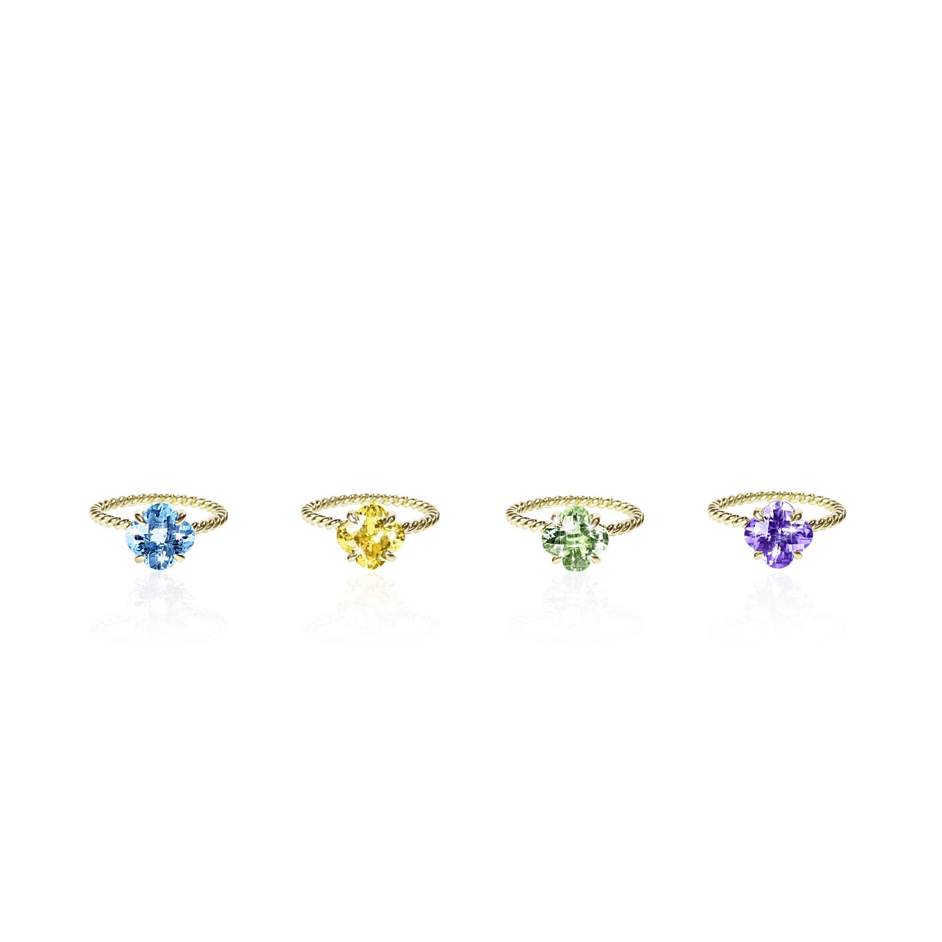 CLOVER GEMSTONE RINGS IN YELLOW GOLD