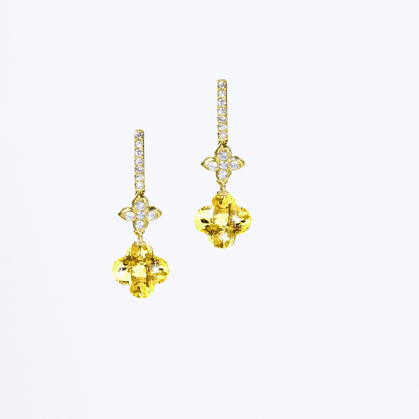 YELLOW BERYL CLOVER DROP EARRINGS IN 18 K YELLOW GOLD & DIAMONDS