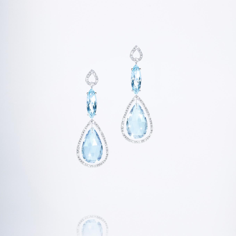 BLUE TOPAZ & DIAMOND FRAME EARRINGS IN WHITE GOLD