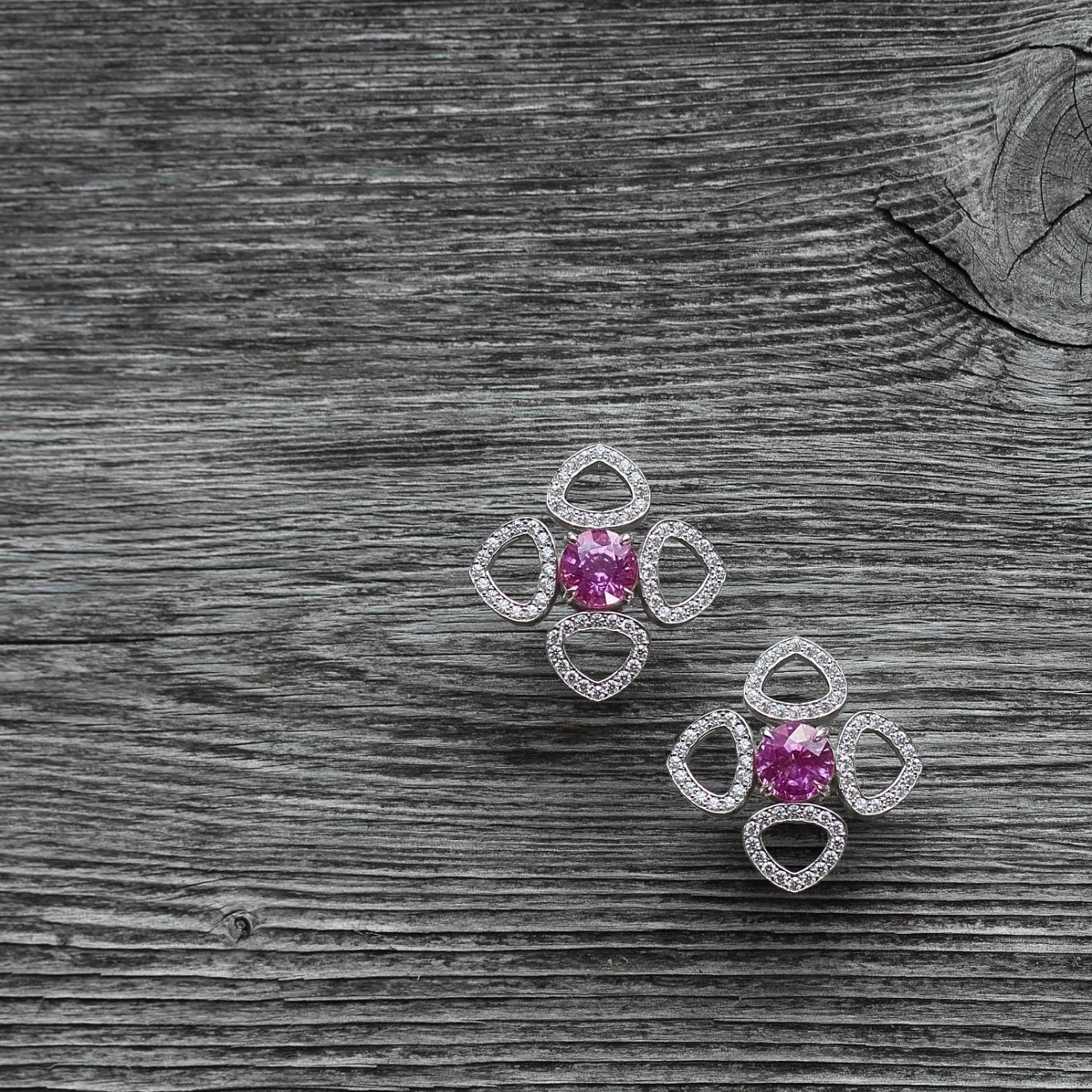 """Annabelle"" Pink Sapphire & Diamond Sevilla motif earrings"