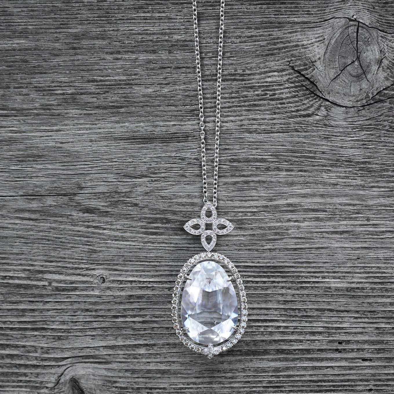 Antique cushion cut White Tourmaline & Champagne Diamond pendant - shown with detachable Flat Sevilla diamond pendant.