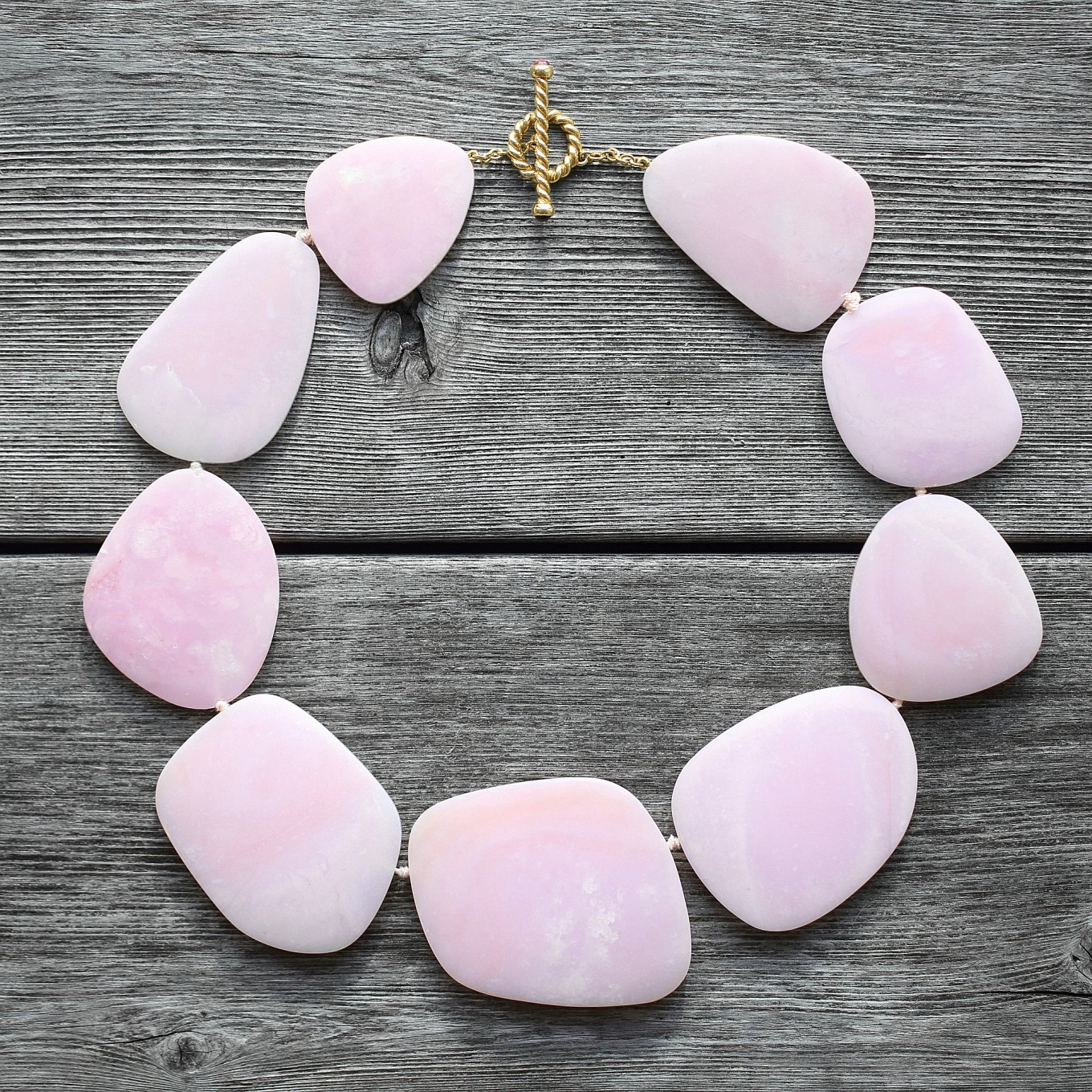 Rare & unusual...carved pink Opal choker with pink tourmaline & braided bar clasp in yellow gold