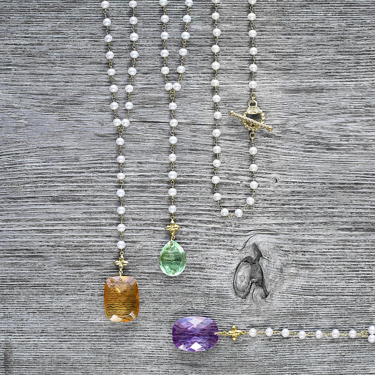 Freshwater Pearl & yellow gold drop Sevilla necklaces:  with Citrine & Amethyst - with  Green amethyst