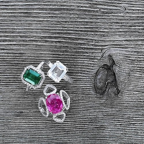 2.91 ct Emerald cut Emerald & Diamond ring -  Emerald cut White Sapphire & Diamond ring in platinum -  Pink Tourmaline & Diamond Sevilla motif ring in white gold