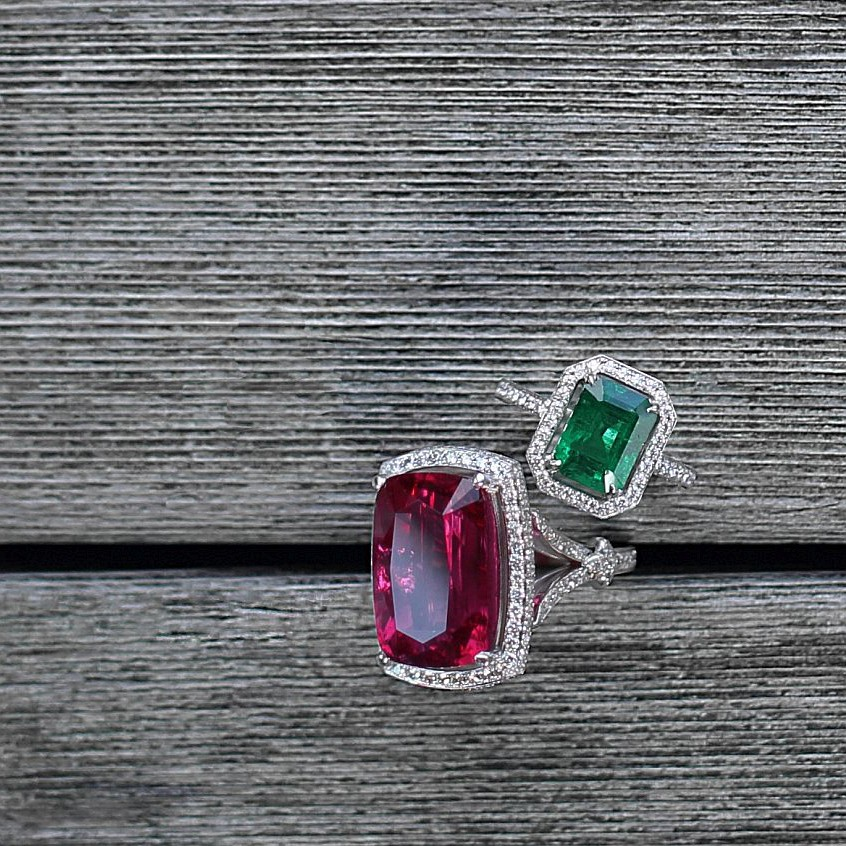 """Scarlett"" 18.44 ct  Rubellite & Diamond ring -  Emerald cut Emerald 2.9 1cts & Diamond ring"