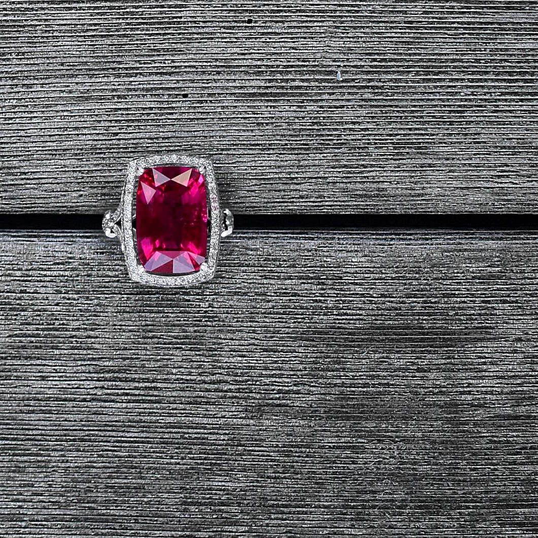 """Scarlett"" cushion shaped 18.44 ct Rubellite & Diamond ring in white gold"