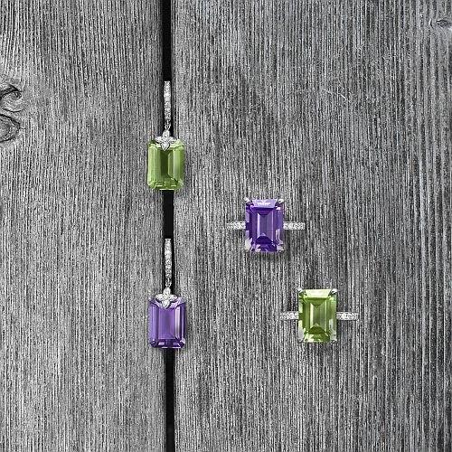 Emerald cut Amethyst & Green Amethyst Sevilla drop earrings in white gold - Emerald cut Amethyst & Green Amethyst & Diamond rings in white gold
