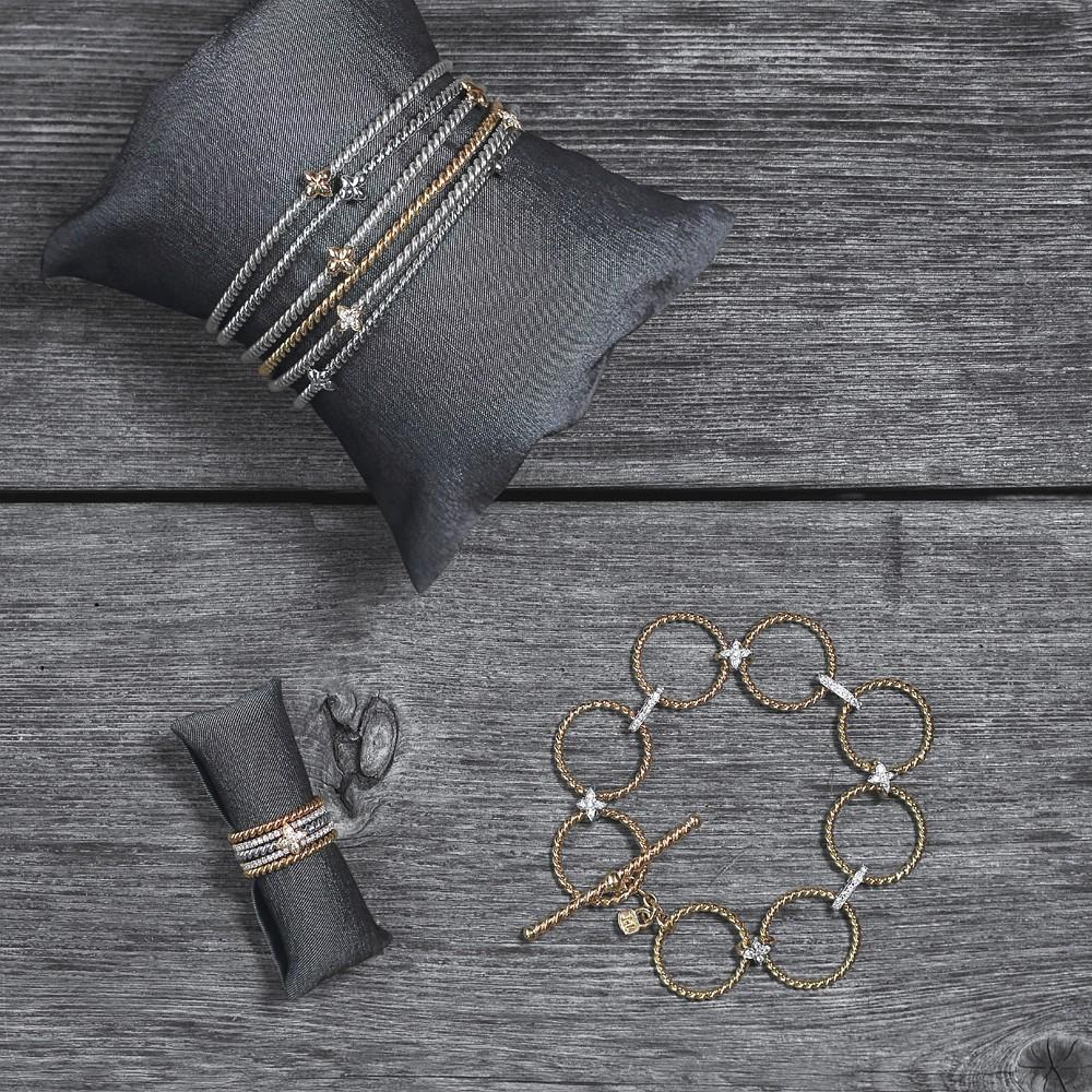 """Braid & Sevilla Braid bangles -  Braid & Sevilla braid stacking rings -  Diamond & yellow gold braid """"Equis""""  bracelet"""