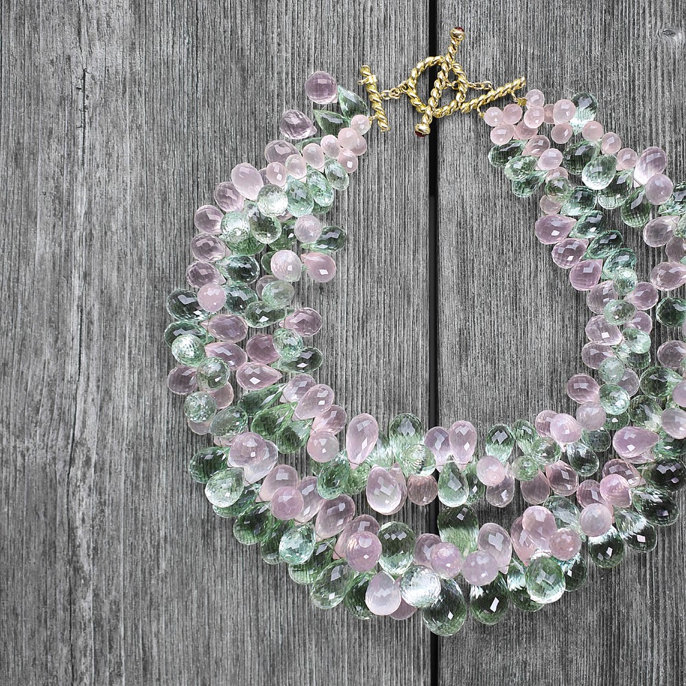 """Bella"" Rose Quartz & Green Amethyst chunk briollette choker with yellow gold & Pink Tourmaline cabochon braided bar clasp"