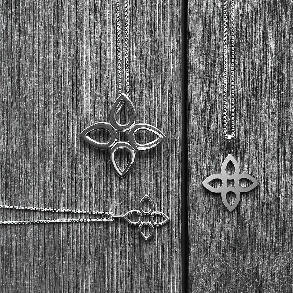 JdJ Signature Sevilla pendants in Sterling Silver from left: Large pendant - Small Wire pendant -  Flat Sevilla pendant